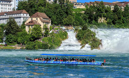 Boat at the Rhine Falls in Switzerland Royalty Free Stock Image