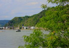 A boat on the rhine river royalty free stock photography