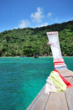 Boat ride, Thailand. Riding on a wooden boat and heading to the destination, Thailand Royalty Free Stock Images