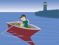 Boat Ride. Illustration of a man taking a boat ride Royalty Free Stock Photo