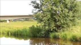 Boat ride along a river, idyllic landscape stock video footage
