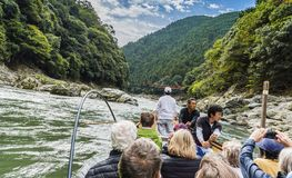 Katsura River boat ride and Sagano Scenic Railway Japan Royalty Free Stock Images