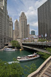 Boat Ride on the Chicago River. May be used to advertise boat tours on the Chicago River Royalty Free Stock Photos