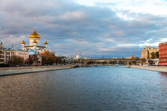 Boat ride in the evening in Moscow, Russia Royalty Free Stock Images