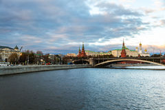Boat ride in the evening in Moscow, Russia Royalty Free Stock Image