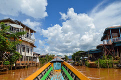 Boat ride on Inle Lake, around the traditional floating villages and fields of the lake Royalty Free Stock Photography