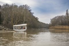 Boat on the kamchia river stock image