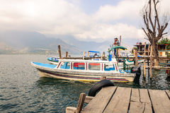 Boat ride on Lake Atitlan at San Pedro La Laguna in Guatemala Royalty Free Stock Photos