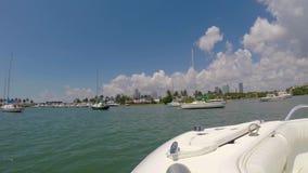Boat ride Miami video stock video footage