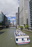 Boat Ride on River North Chicago. May be used as a tourist ad for Chicago royalty free stock photography