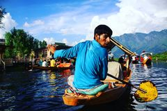 Boat ride in Srinagar. Seller of vegetables in Dal-lake. Srinagar, Kashmir stock image