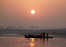 Boat ride at sunrise at Varanasi Stock Photo
