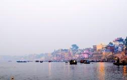 Boat ride in Varanasi, Rajasthan, India. A morning cruise along the Holi Ganges River Royalty Free Stock Photography