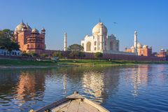 Boat ride on Yamuna river near Taj Mahal Stock Photo