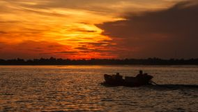 Boat Riding Silhouette on the morning sunrise in Hau River, a distributary of the Mekong river, Can Tho, Vietnam, Indochina, Asia Royalty Free Stock Photo
