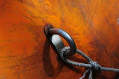 Boat ring and rope detail Stock Images