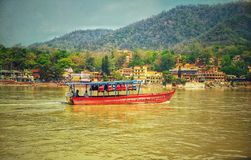 boat  Rishikesh Ramjhula stock photo