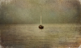 Boat on river. Wooden boat on quiet river Royalty Free Stock Photo