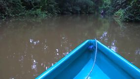 Boat on a river. In Tortuguero National Park, Costa Rica stock footage