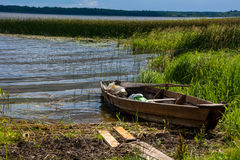 Boat on the river. Boats of fishermen on the lake. landscape Stock Photography