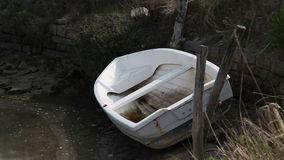 Boat in river channel stock video footage