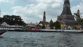 Boat on the river Chao Phraya. River Chao Phraya, view of Bangkok stock video