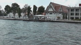Boat on the river Chao Phraya. Watertaxi at the Chao Phraya River stock footage
