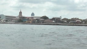 Boat on the river Chao Phraya. Watertaxi at the Chao Phraya River stock video