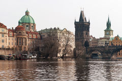 Boat on River and Charles Bridge Stock Image