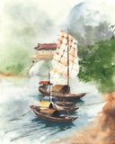 Boat on the river china landscape sail boat ancient watercolor painting illustration. Boat on the river sailboat china landscape sail boat ancient watercolor Stock Image