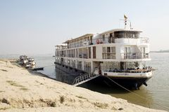 Boat for river cruises on the Irrawaddy river Myanmar Royalty Free Stock Photography