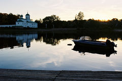 Boat in the river. At evening in Pskov Royalty Free Stock Images