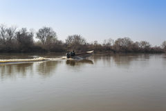 Boat in the river of Evros in Autum Stock Image