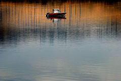 Boat on River Fishing Royalty Free Stock Images