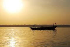 Boat on the River Ganges. Earlier morning-boat on the River Ganges royalty free stock photography