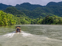 Boat on the river at Kanchanaburi Royalty Free Stock Photos