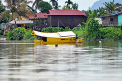 Boat on the River in Kuching Royalty Free Stock Photos