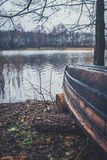 Boat on the river, lake. A boat with oars. Boat on the river, lake. A boat with oars Stock Image