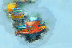 Boat in a River / Lake Digital Brush Painting Royalty Free Stock Images