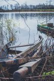 Boat on the river, lake. A boat with oars. Boat on the river, lake. A boat with oars Royalty Free Stock Photo