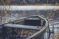 Boat on the river, lake. A boat with oars. Boat on the river, lake. A boat with oars Royalty Free Stock Image