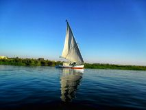 Boat on the river in Luxor stock photography