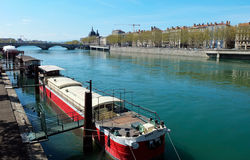 Boat on the river,Lyon Royalty Free Stock Images