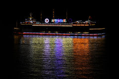 Boat at river at night Royalty Free Stock Photography
