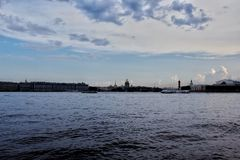 Boat on the river. panorama of the city stock images
