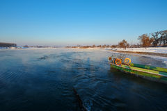 The boat in the river. The photo was taken in Wusong island Ulla manchu town Longtan district Jilin city Liaoning provence,China Stock Image