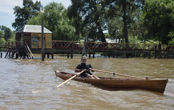 Boat on the River Plate Delta, Argentina Stock Photo