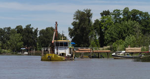 Boat on the River Plate Delta, Argentina Royalty Free Stock Photos