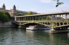 Boat on river Seine in Paris, France royalty free stock photography