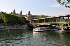 Boat on river Seine in Paris, France Royalty Free Stock Image